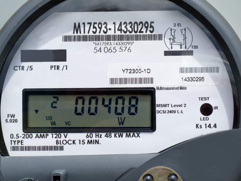 Close up of modern smart grid residential digital power supply meter