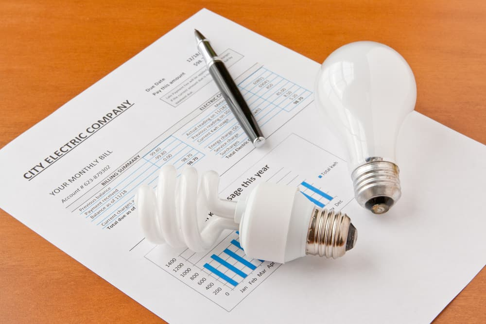 Light Bulbs On An Electric Bill.